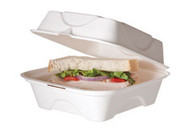 "Natural Fiber Carry Out Container  - 6"" - white - WHBRG-6 HW"