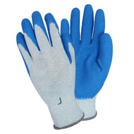 GLOVES - Latex coated palm & fingers, poly/ctn knit, Large, Blue/Gray, Dozen