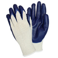 GLOVES - Latex Coated palm & fingers, poly/ctn knit, Medium, Blu/Nat, Dozen