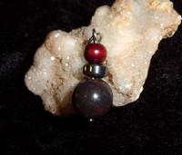 Black Bead Pendant with NORSE VAMPIRE