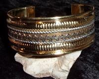 Brass Cuff Bracelet with GOLD DJINN