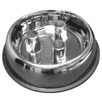 Brake-Fast Dog Food Slow Feed Bowl - Medium Stainless Steel
