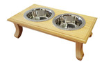 Wooden Pet Diner - Double Stainless Steel