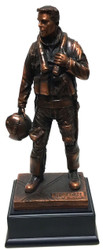 "11.5"" tall, highly detailed, bronze tone Air Force pilot military statue mounted on black base."
