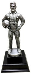 "17"" tall  Air Force Pilot military statue mounted on 6-1/2 inches wide by 6-1/2 inches deep by 1-1/2 inches high black base.  Great artistic detail and accuracy."
