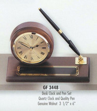 "Clock and pen set genuine walnut with black pen, 3-1/2"" tall x 6"" wide."