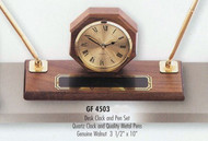 "Desk clock and pen set genuine walnut with 2 quality pens; 10"" long x 3-1/2"" wide."