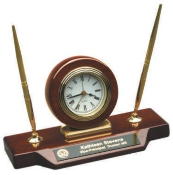 CLOCK WITH 2 PENS ROSEWOOD PIANO FINISH