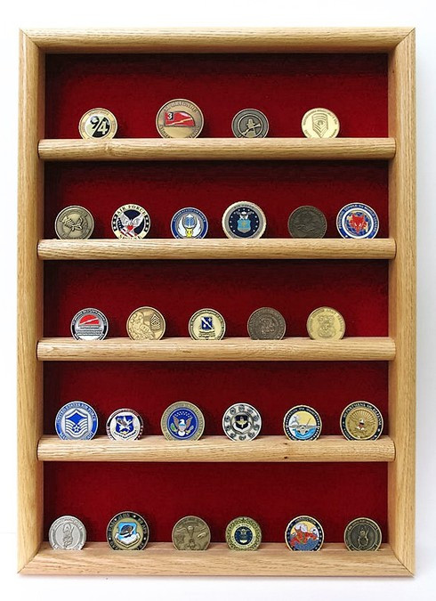 Challenge Coin Display Case Oak Military Gift