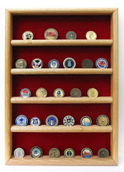 Genuine oak 16 inches wide by 22 inches tall challenge coin wall display case.  Holds up to thirty each 2 inches in diameter challenge coins.