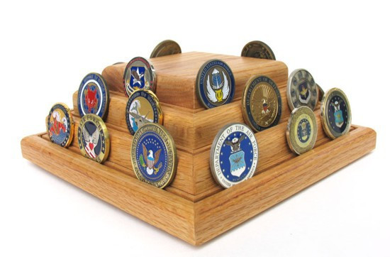 Challenge Coin Display Stand Oak Rotating Military Gift