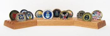 "GENUINE OAK 15"" LONG X 3-1/2"" WIDE X 1.0"" HIGH COIN DISPLAY STAND STADIUM STYLE.  HOLDS UP TO 28 EACH 2"" DIAMETER COINS."