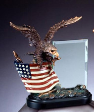 Eagle Bronze Tone With Glass Engraving Plate Military Gift