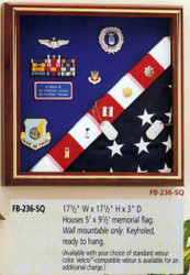 HOUSES 5' X 9' MEMORIAL FLAG. WALL MOUNTABLE ONLY. CHOICE APPALACHIAN HARDWOOD WITH QUEEN ANNE CHERRY FINISH. VELCRO COMPATIBLE MAT.