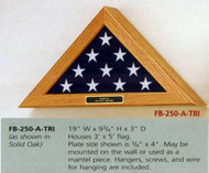 FLAG DISPLAY CASE FOR 3' X 5' CEREMONIAL FLAG WALL MOUNTED SOLID OAK.