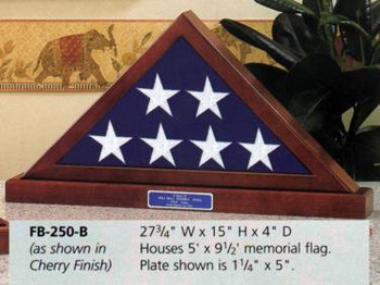 5' X 9' MEMORIAL FLAG DISPLAY CASE CHOICE APPALACHIAN HARDWOOD WITH QUEEN ANNE CHERRY FINISH WITH BASE.