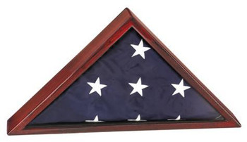 """ELEGANT PIANO FINISH FLAG DISPLAY CASE FOR 5' X 9' MEMORIAL FLAG. INCLUDES 2"""" X 4"""" ENGRAVING PLATE."""