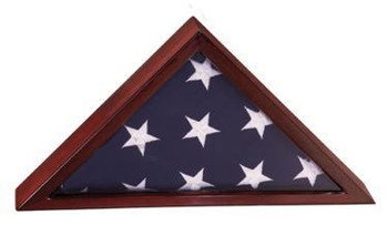 "ELEGANT FLAG DISPLAY CASE, PIANO FINISH, ACCOMODATES 3' X 5' CEREMONIAL U.S. FLAG. INCLUDES 1"" X 3"" ENGRAVING PLATE"