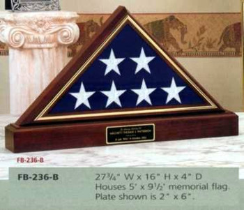 5' X 9' MEMORIAL FLAG DISPLAY CASE, APPALACHIAN HARDWOOD WITH QUEEN ANNE CHERRY FINISH.