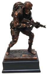 BRONZE CLAD MARINE MILITARY STATUE. HIGHLY DETAILED 11.5 INCHES TALL MOUNTED ON BLACK BASE.