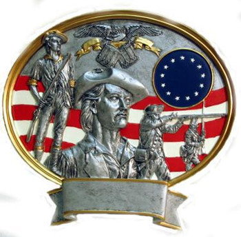 "8"" tall oval resin legend military plaque, National Guard Minuteman that can be used with its pedestal, hung to a wall by itself or mounted to an awards plaque board."