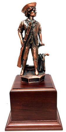 Military Statue National Guard Minuteman Bronze Tone Mounted on a Walnut Finish Base.  Total Height is 11-1/2""