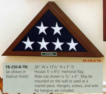 5' X 9' MEMORIAL FLAG DISPLAY CASE CHOICE APPALACHIAN HARDWOOD WALNUT STAIN. WALL MOUNTED.