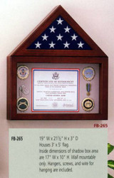 3' X 5' CEREMONIAL FLAG DISPLAY CASE WITH CERTIFICATE OR INSIGNIA DISPLAY AREA. CHOICE APPALACHIAN HARDWOOD WITH QUEEN ANNE CHERRY STAIN. WALL MOUNTED.