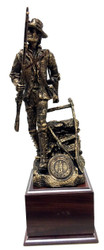 "Highly detailed bronze tone 17"" tall Minuteman Statue mounted on a 5-1/2""W x 5-1/2""D x 4""H laminated cherry wood base.  National Guard or Air National Guard medallion is included."