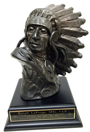 """Indian Chief Statue mounted on a 6"""" wide by 6"""" long by 2"""" tall black or laminated cherry base."""
