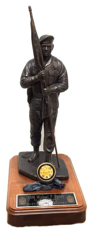 "14"" tall CSM military statue ""Keeper of the Colors"" with beret mounted on 8"" x 12"" x 1-1/2"" genuine walnut base with challenge coin holder.  Displayed challenge coin is not included,  Army medallion will be sent instead."