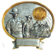 """8"""" tall oval resin legend military plaque, US Marines Male Service Member that can be used with its pedestal, hung to a wall by itself or mounted to an awards plaque board."""