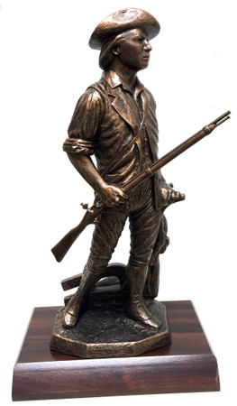 "Awesome 19"" Total Height Highly Detailed ""CONCORD"" National Guard Minuteman Military Statue Mounted on a 7""W x 11""L x 1-1/2""H Genuine Redwood Base."