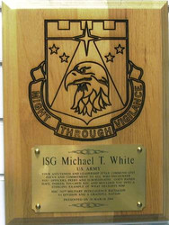 """PLAQUE 9"""" X 12"""" LASER ENGRAVED, HIGHLY DETAILED, 742ND MI BN WITH 6"""" X 4"""" ENGRAVING PLATE."""