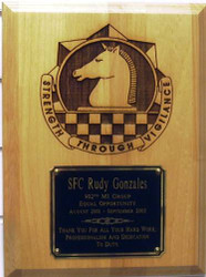"PLAQUE 9"" X 12"" DETAILED LASER ENGRAVED 902ND MI GROUP WITH 5"" X 4"" ENGRAVING PLATE."