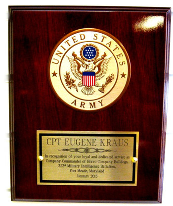 """8"""" x 10"""" mahogany finish plaque with 4"""" diameter US Army emblem.  Engraving plate is 5"""" by 2-3/4"""".  Also available with Marine, Navy or Air Force emblems.  Please specify if other than US Army is being ordered."""