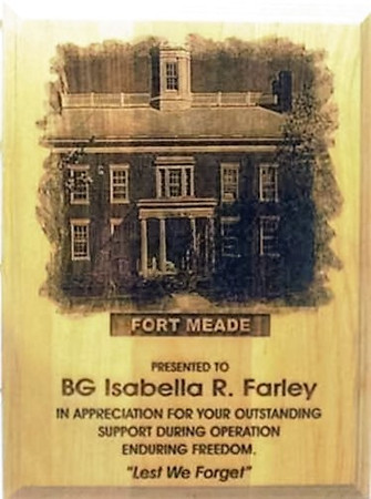 """PLAQUE RED ALDER 9"""" X 12"""" LASER ENGRAVED. FORT MEADE HQ GARRISON BUILDING ENGRAVED.  (This work is an original creation of Mai's Engraving.  Please do not allow someone else to profit from our work)"""