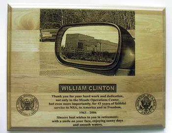 "DETAILED LASER ENGRAVED PLAQUE 12""X15"" OF THE NSA BUILDING. ANY PICTURE CAN BE INSERTED IN THE MIRROR. TWO LOGOS ARE INCLUDED. (This work is an original creation of Mai's Engraving.  Please do not allow someone else to profit from our work)"