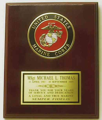 """8"""" x 10"""" laminated mahogany plaque with 4"""" US Marines emblem.  Engraving plate is 5"""" x 2-3/4"""".  Also available with Army, Navy or Air Force emblems.  Please advice in other than US Marines is being ordered."""