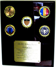 Military Plaque Piano Finish with 5 Logos