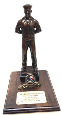 "18"" tall Navy Sailor at Parade Rest military statue mounted on 8"" x 12"" genuine walnut base with challenge coin holder."