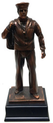 "Highly detailed 11.5"" tall bronze tone Navy Sailor military statue mounted on black base."
