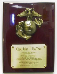 """Military plaque 9"""" x 12"""" rosewood piano finish color with bronze tone awesome U. S. Marines emblem."""