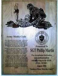 "Plaque 9"" x 12"" genuine cherry, highly detailed laser engraved Army Medic Code with logo.  Specify required logo if other than the one displayed."