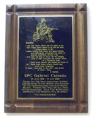 "Plaque 9"" x 12"" genuine walnut with Soldier's Poem."