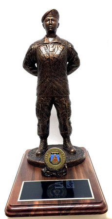 """17"""" tall military female at parade rest military statue mounted on a 9"""" x 12"""" genuine walnut base with challenge coin holder.  Challenge coin not included: Army, Air Force, Navy or Marine medallion will be sent instead unless requested otherwise."""