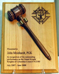 "9"" x 12"" Genuine red alder plaque with genuine walnut removable gavel.  Displayed Knights of Columbus graphic can be replaced as needed."