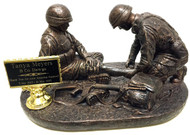 """9"""" tall x 14"""" long x 10"""" wide Soldier medic military statue highly detailed."""