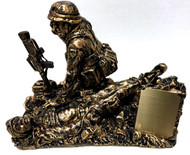 "Combat medic military statue ""Calling Dustoff"" without base and without engraving.  Includes small removable plate that can be laser engraved or have a 2"" x 2-1/2"" engraving plate attached."