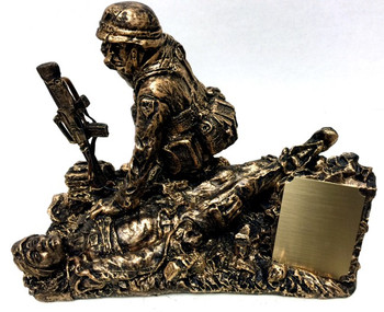 """Combat medic military statue """"Calling Dustoff"""" without base and without engraving.  Includes small removable plate that can be laser engraved or have a 2"""" x 2-1/2"""" engraving plate attached."""